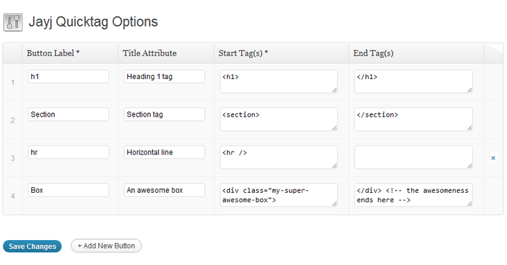 The Quicktag generator settings page. You can drag 'n' drop the rows to change the order.