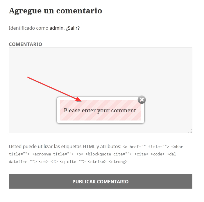 Example error comment