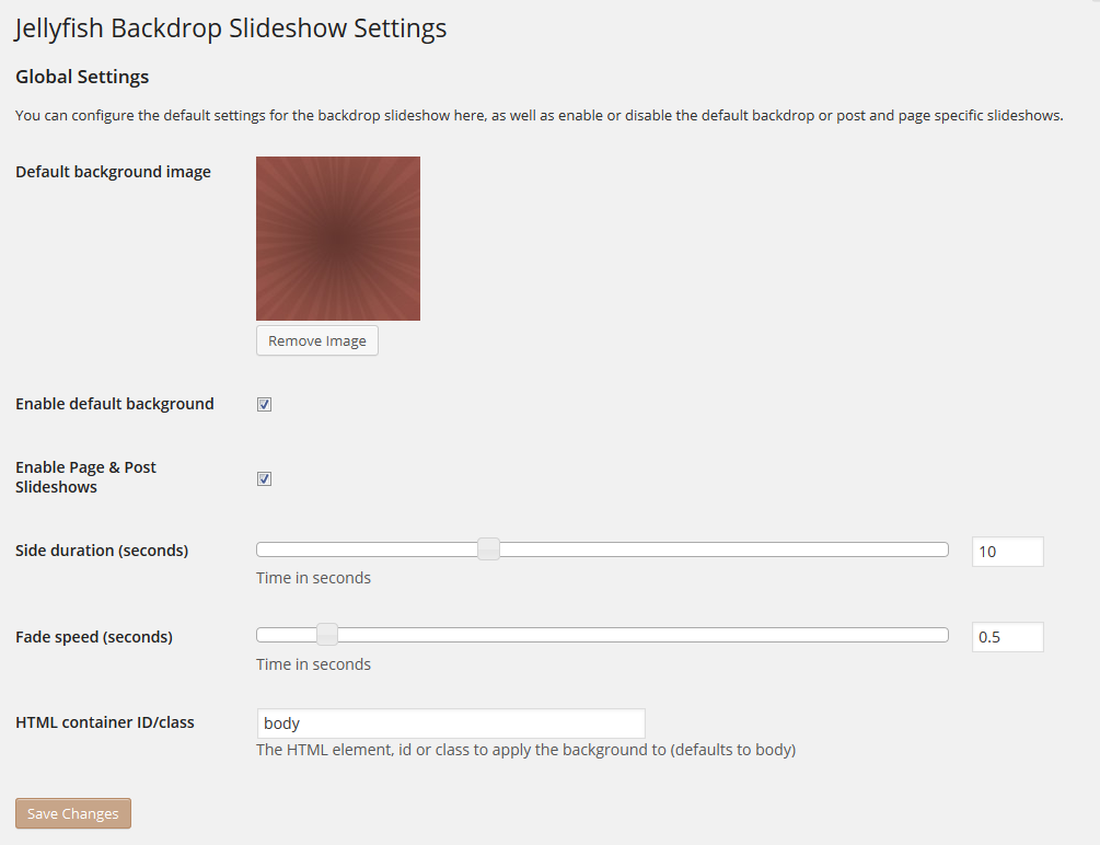 <p>Settings page, to set up default options.</p>