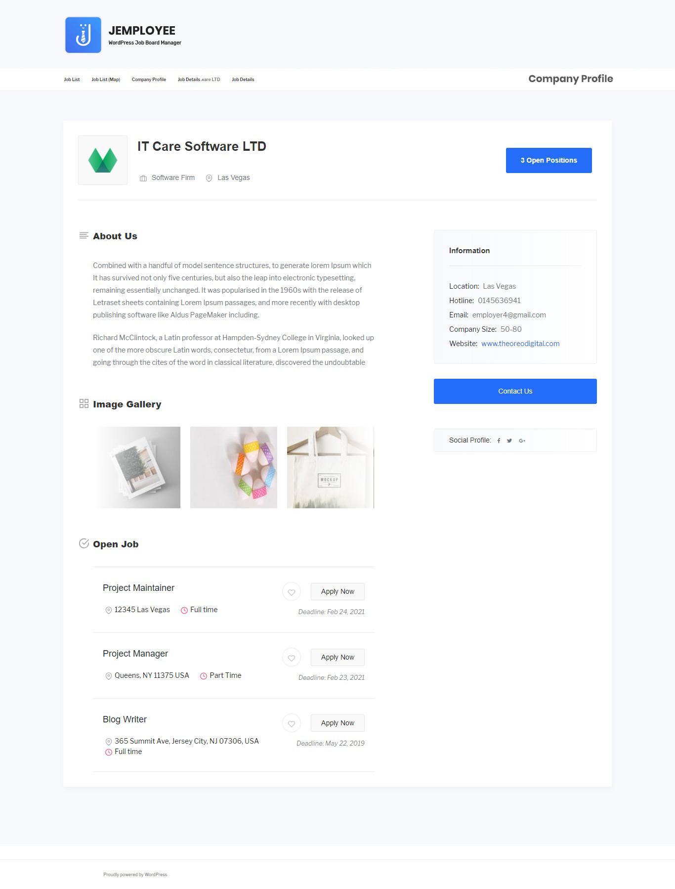 Job Lister Profile