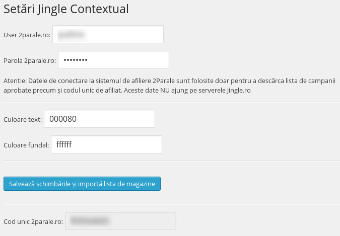 Panoul de administrare Jingle Contextual