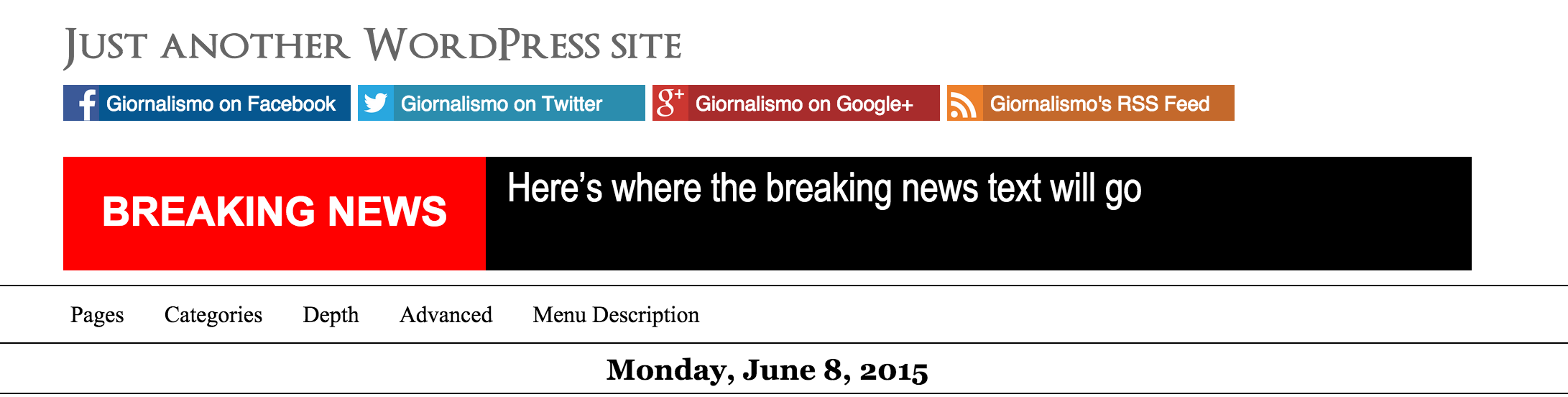 The breaking news banner in action on the web site.