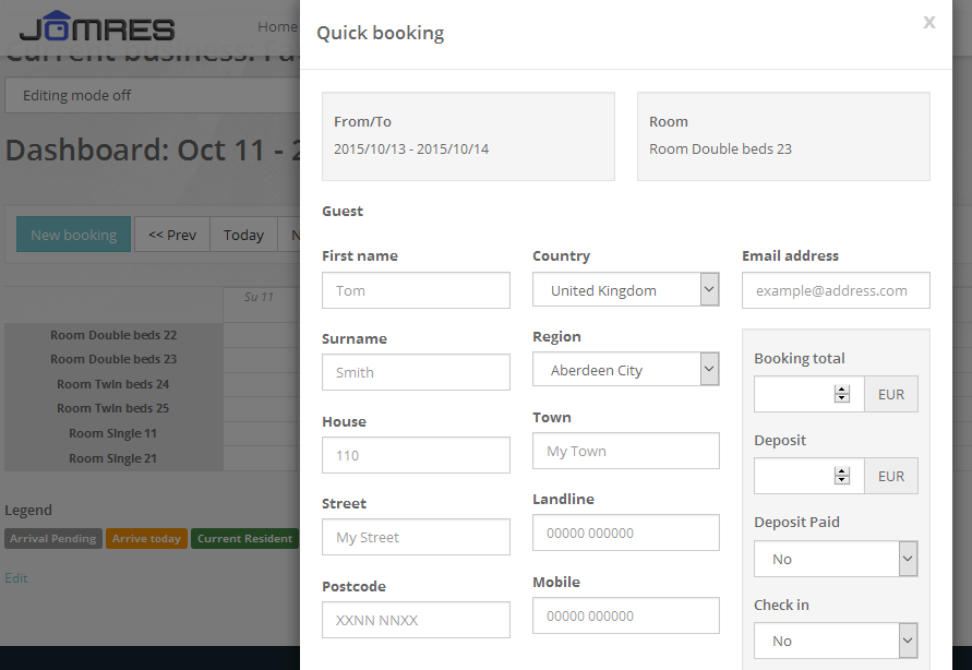 Quick Booking modal from the Dashboard. Receptionist/Manager only feature.