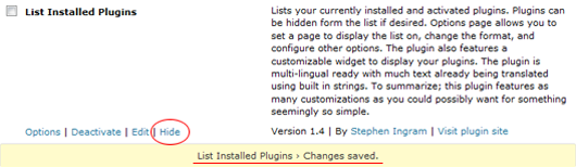 The standard plugins page gets extra show/hide actions.