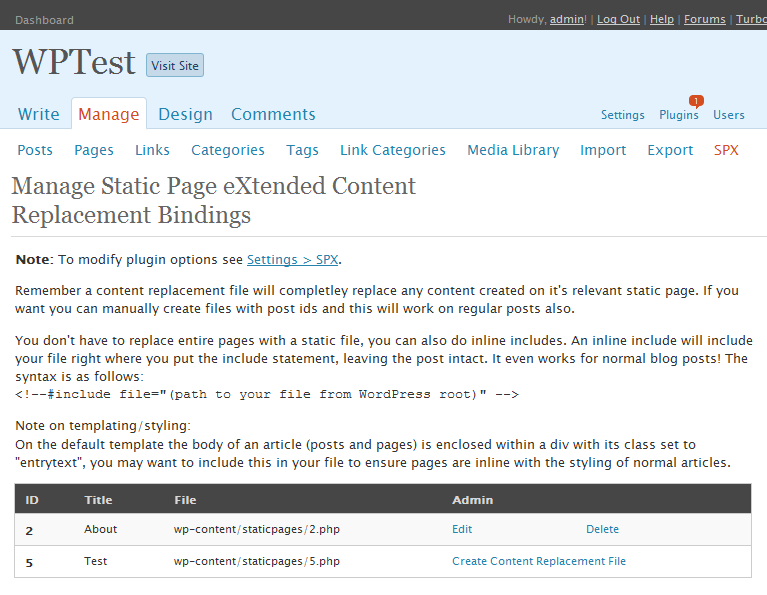 The content replacement files management page