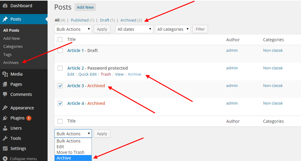 Archive link in your post type list page using post status, row action and bulk action features