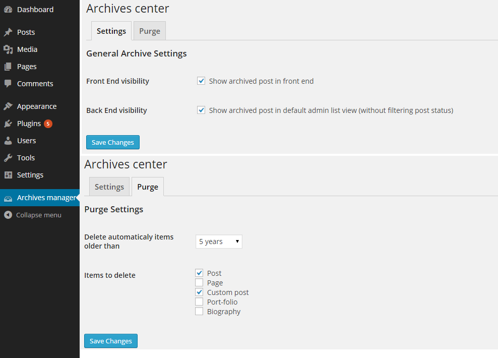 Archive page manager to configure archived post visibility and purge via cron