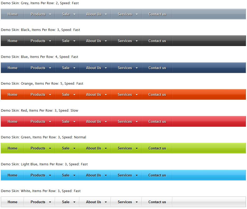 Sample mega menu skins