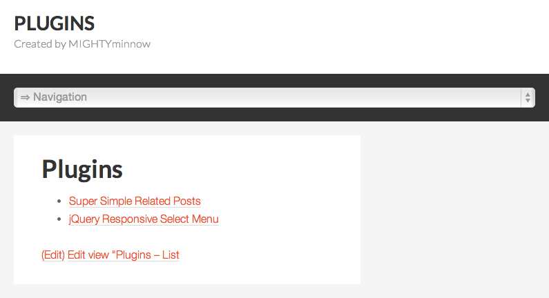 Responsive select / drop-down menu at user-specified mobile width.