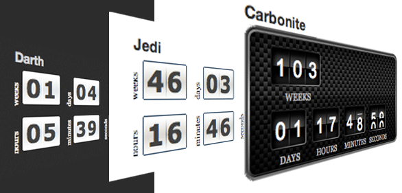 T(-) Countdown in action with styles: Darth, Jedi and Carbonite.