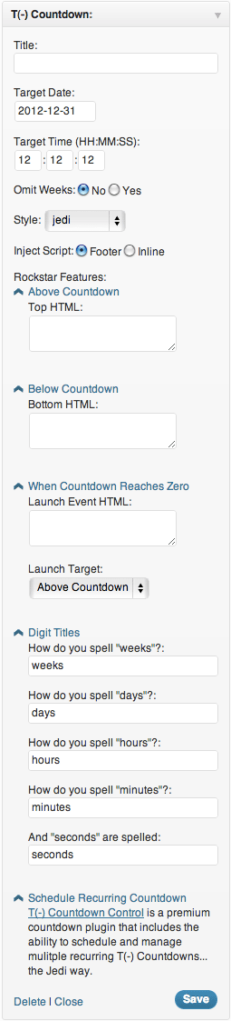 An expansive view of the available Countdown widget options, provided for your viewing pleasure.