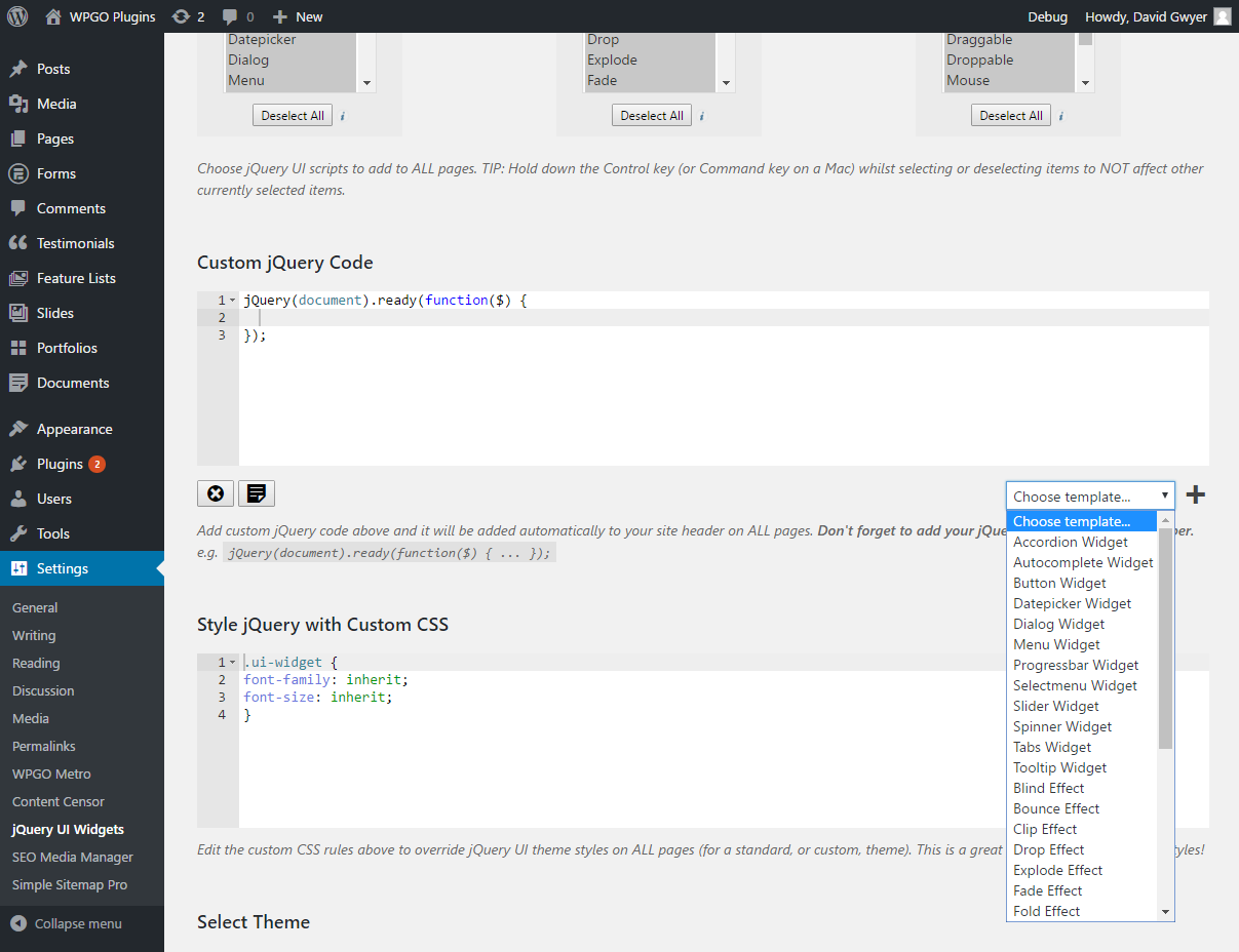 jQuery UI Widgets — WordPress Plugins