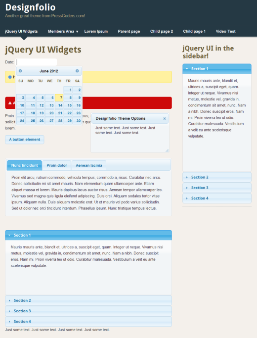 jQuery UI theme example.