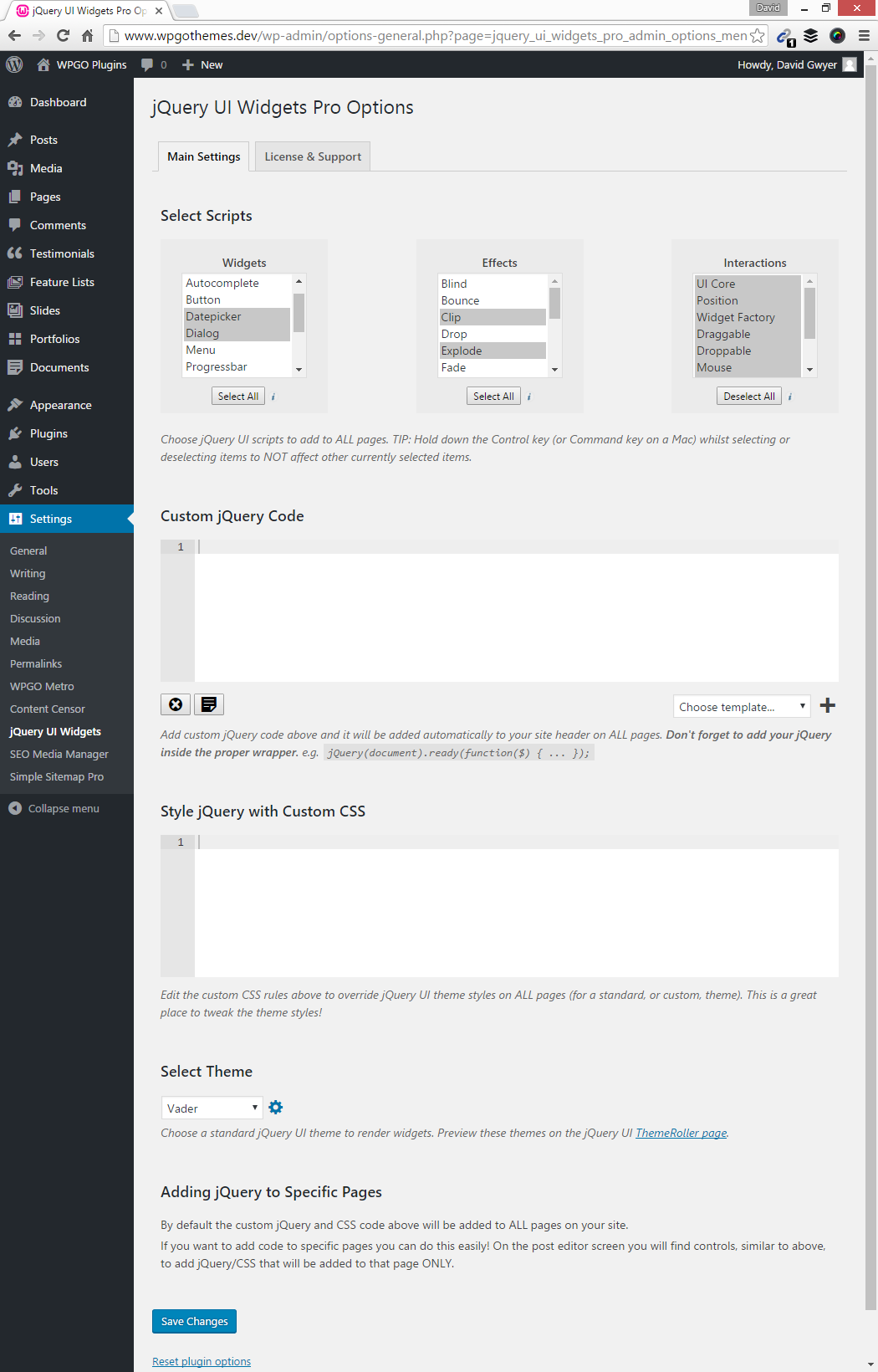 Totally revamped plugin options page. (Pro only)