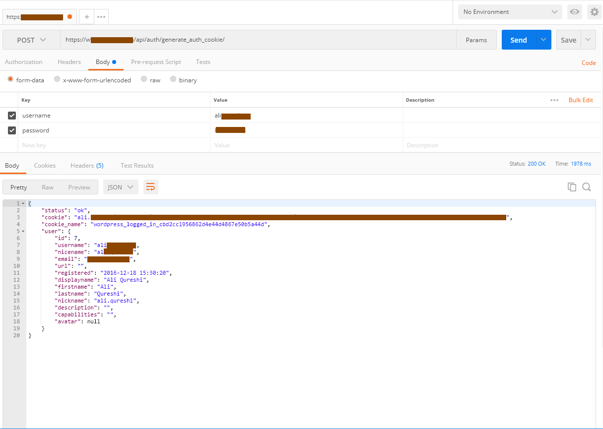 Call to generate_auth_cookie endpoint using Postman