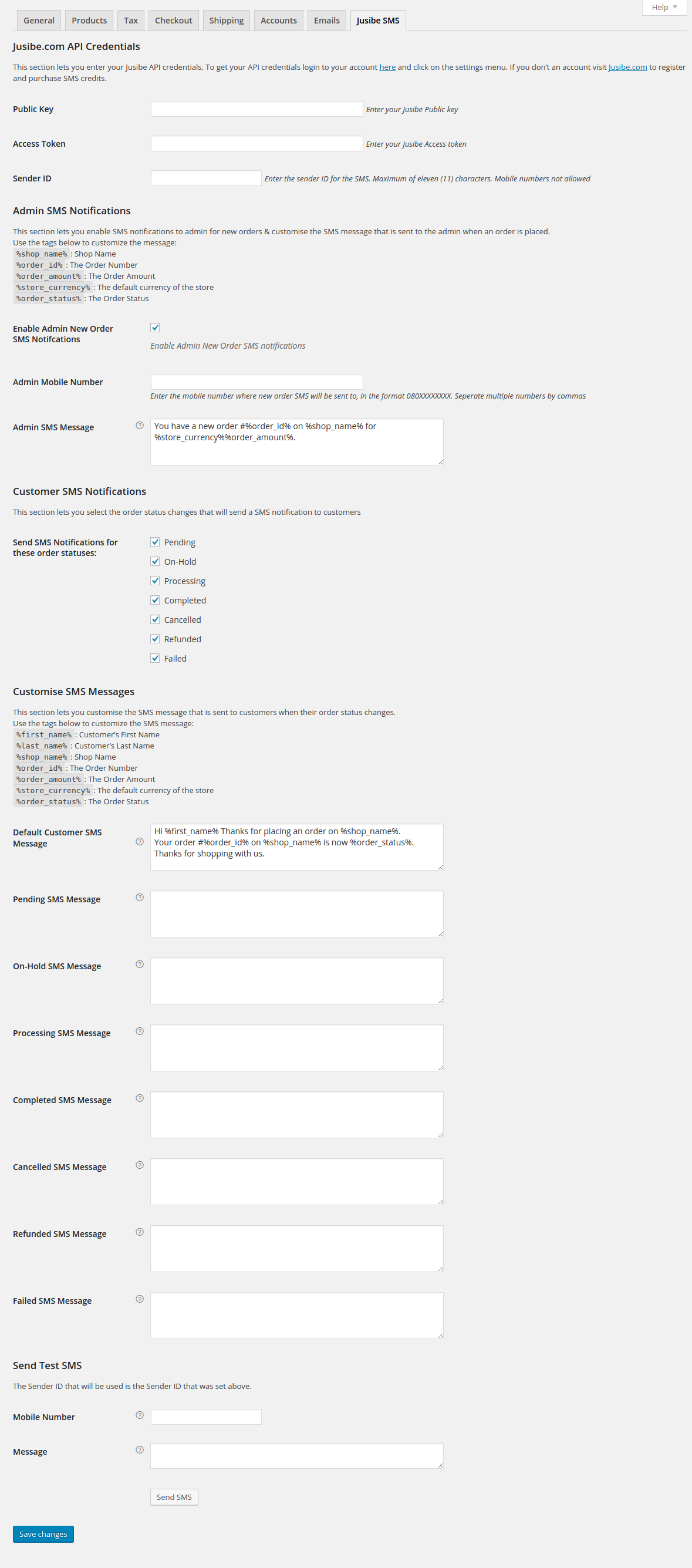 <p>WooCommerce - Jusibe SMS Notifications settings page</p>