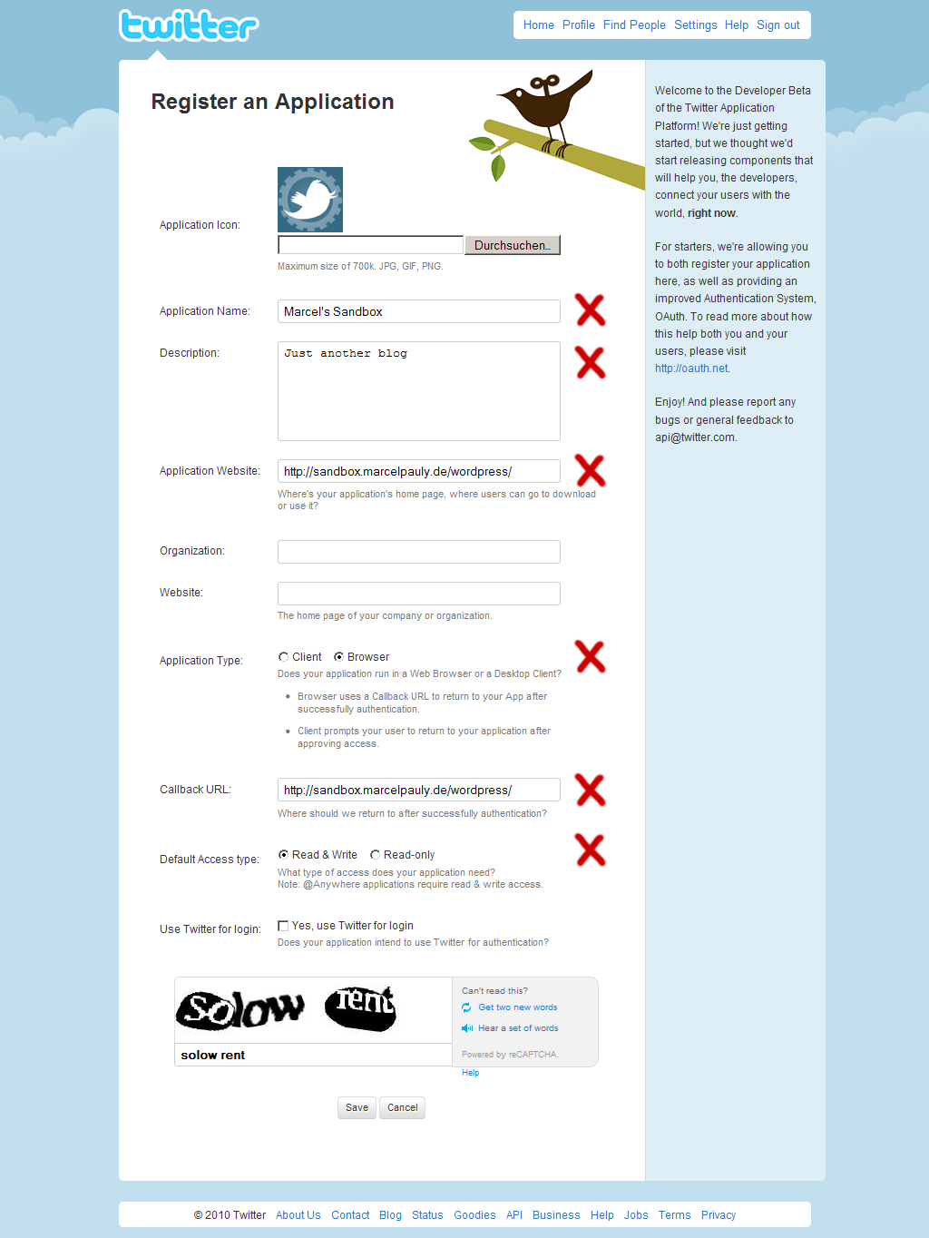 You have to register an own Twitter Application for your blog