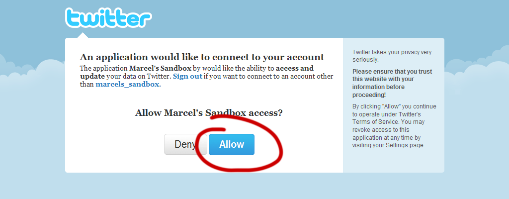 Twitter will ask you to allow the access ...