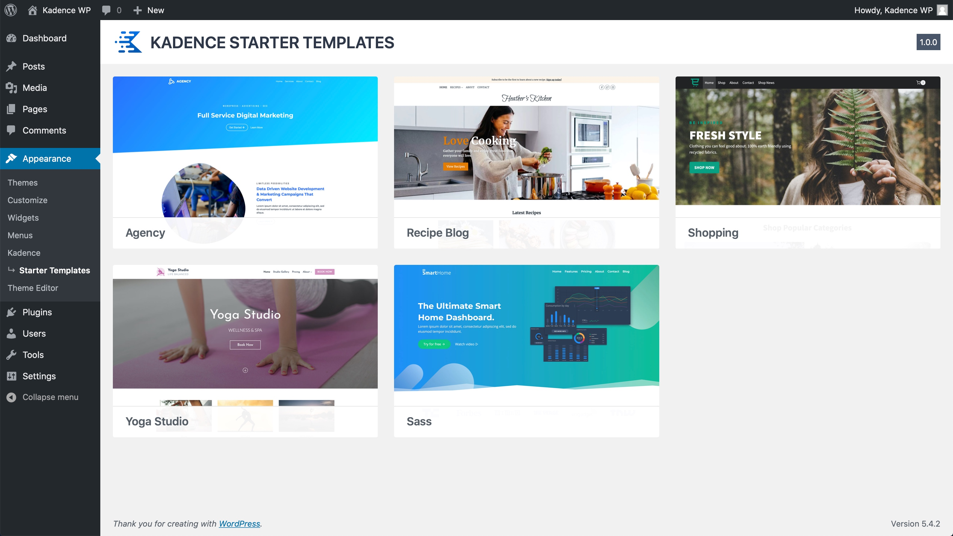 Starter Templates by Kadence WP