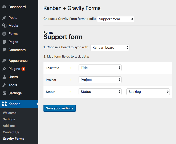 The admin screen for mapping form fields to task data