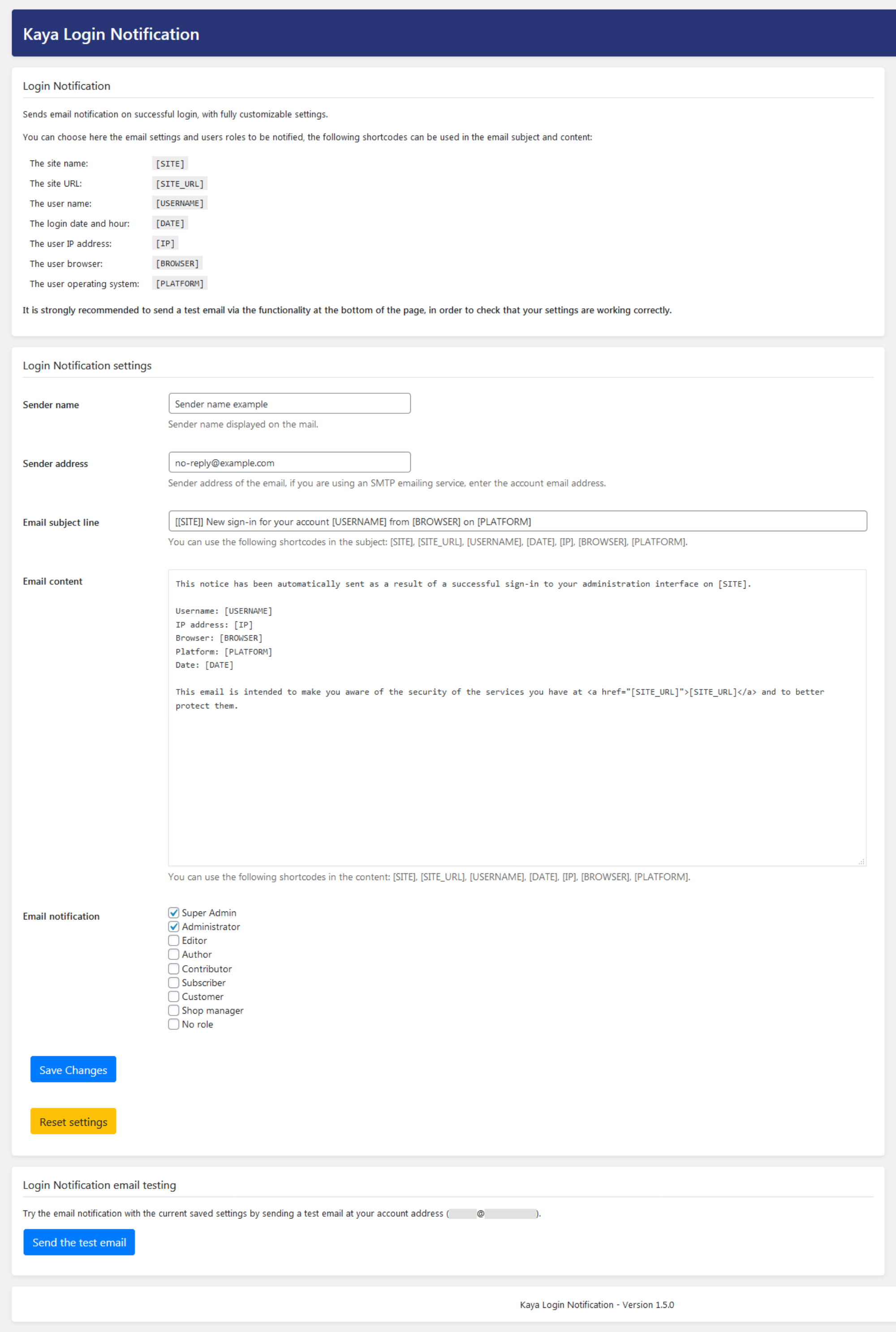 Kaya Login Notification settings page.