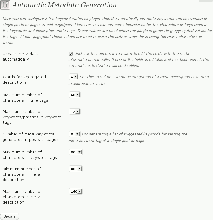 Settings for the automatic generation of meta informations