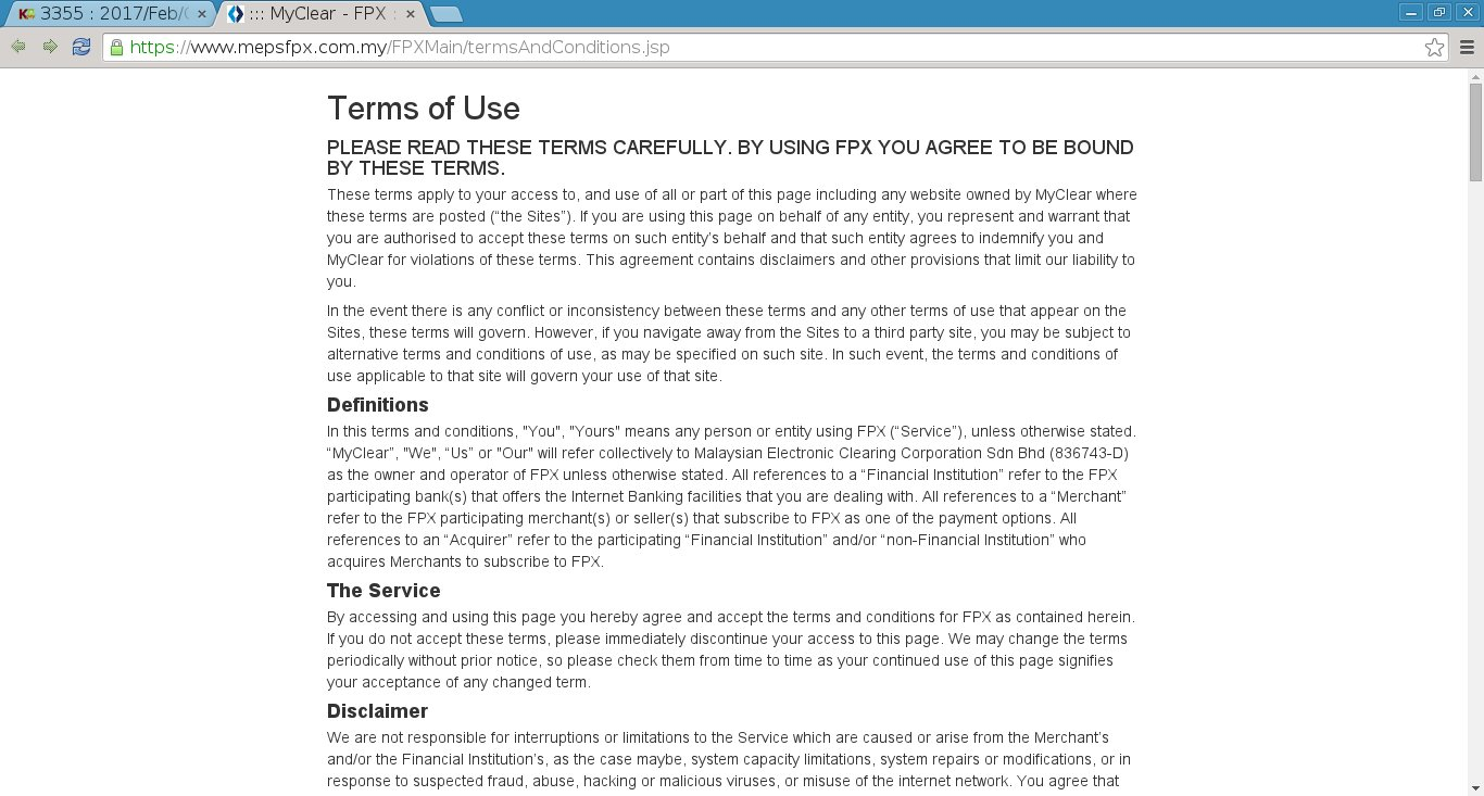 The FPX terms and conditions page.