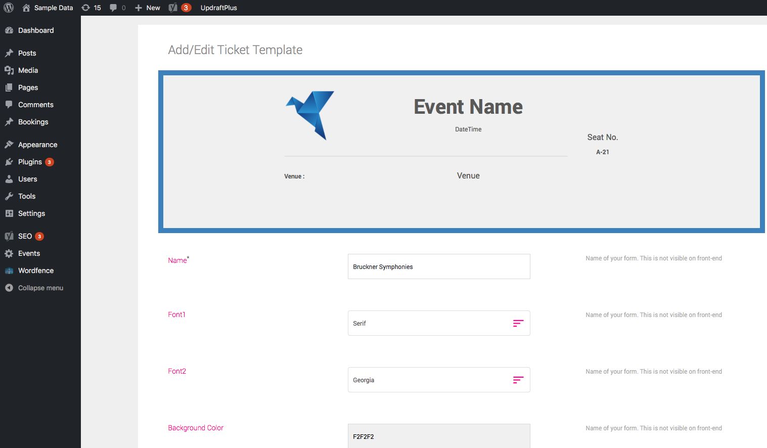Ticket Editor - Dashboard