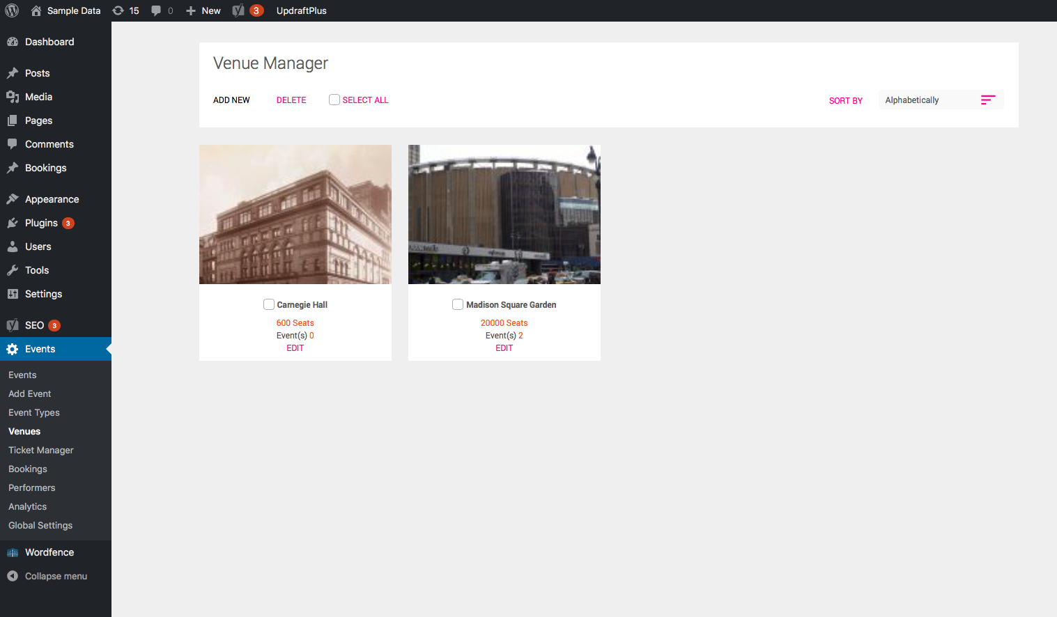 Venues Manager - Dashboard