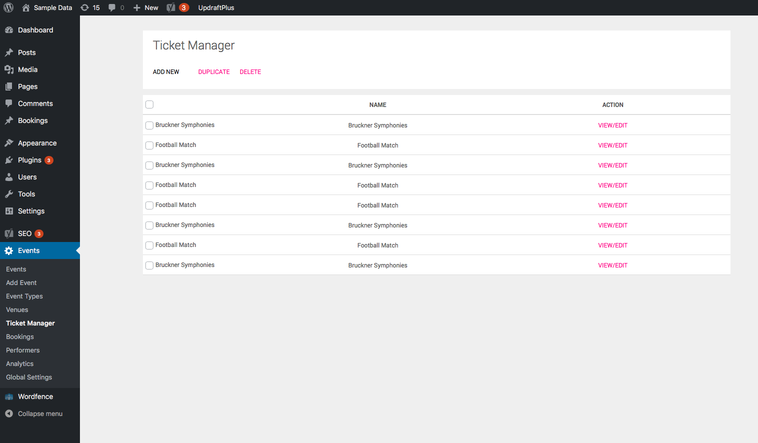 Tickets Manager - Dashboard