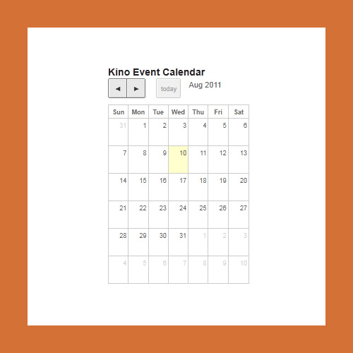 The event calendar in the sidebar