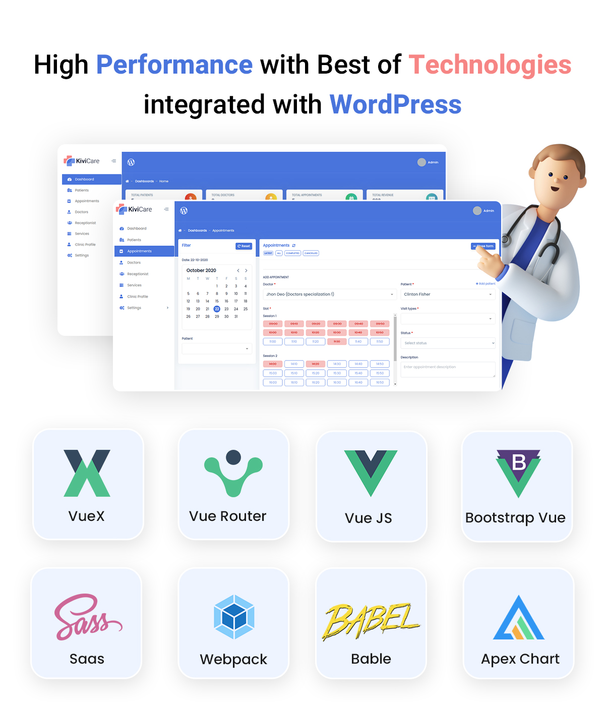 Free Clinic and Patient Management Plugin (EHR)   KiviCare   Iqonic Design free clinic and patient management plugin KiviCare screenshot 2