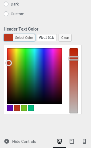 Custom palette for the Theme Customizer