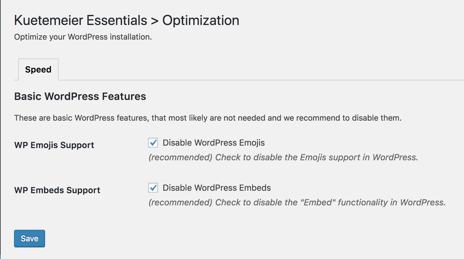 Optimize your WordPress installation, remove Emojis and Embeds
