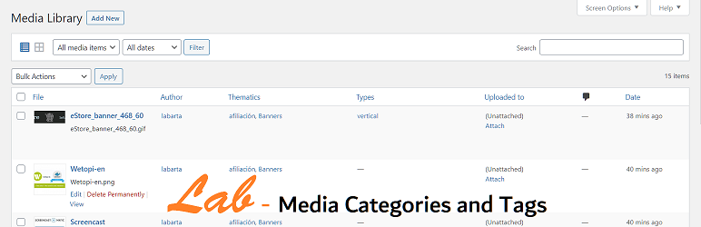 Lab Media Categories and Tags