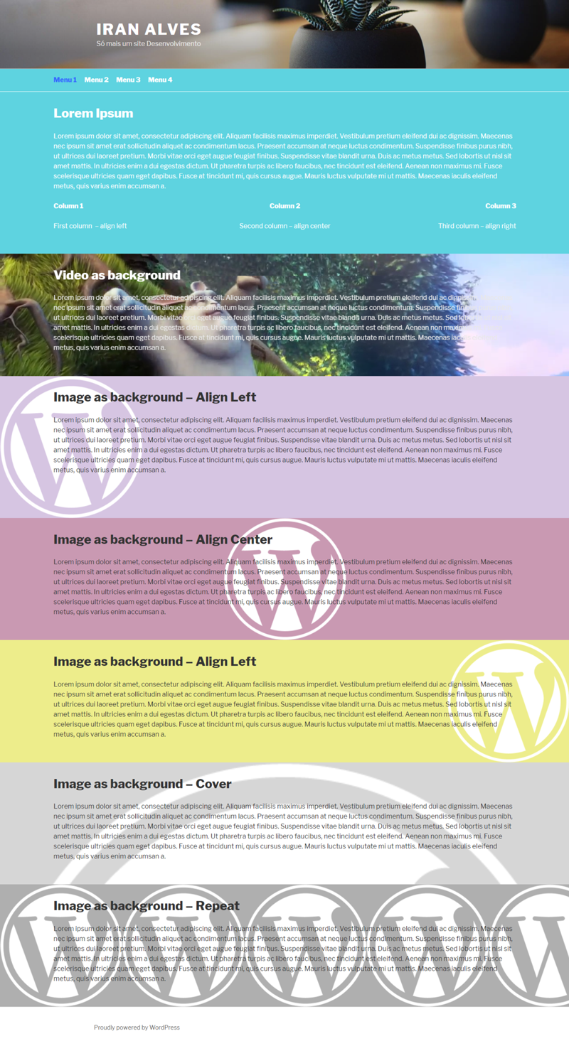 Page as landing page with default header enabled.