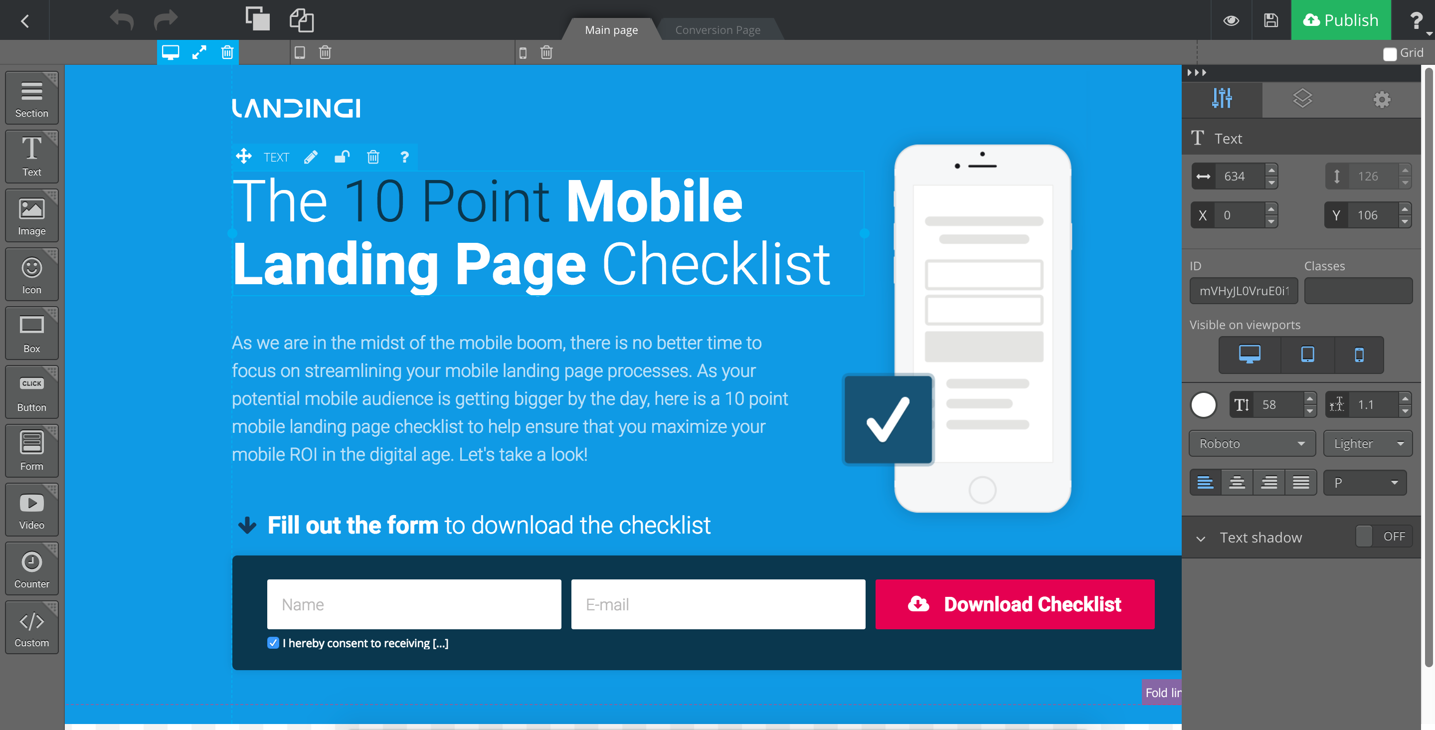 Create your landing page on your account at Landing platform.
