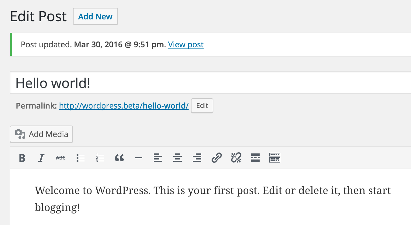 Admin messages after editing a page/post - ie: <code>Post updated. *timestamp* View Post</code>