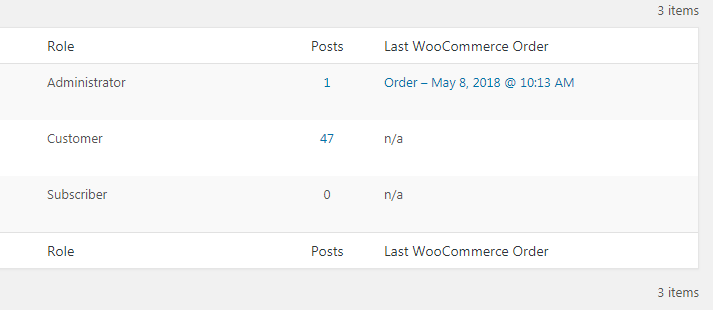 Last User Order column in WP users list