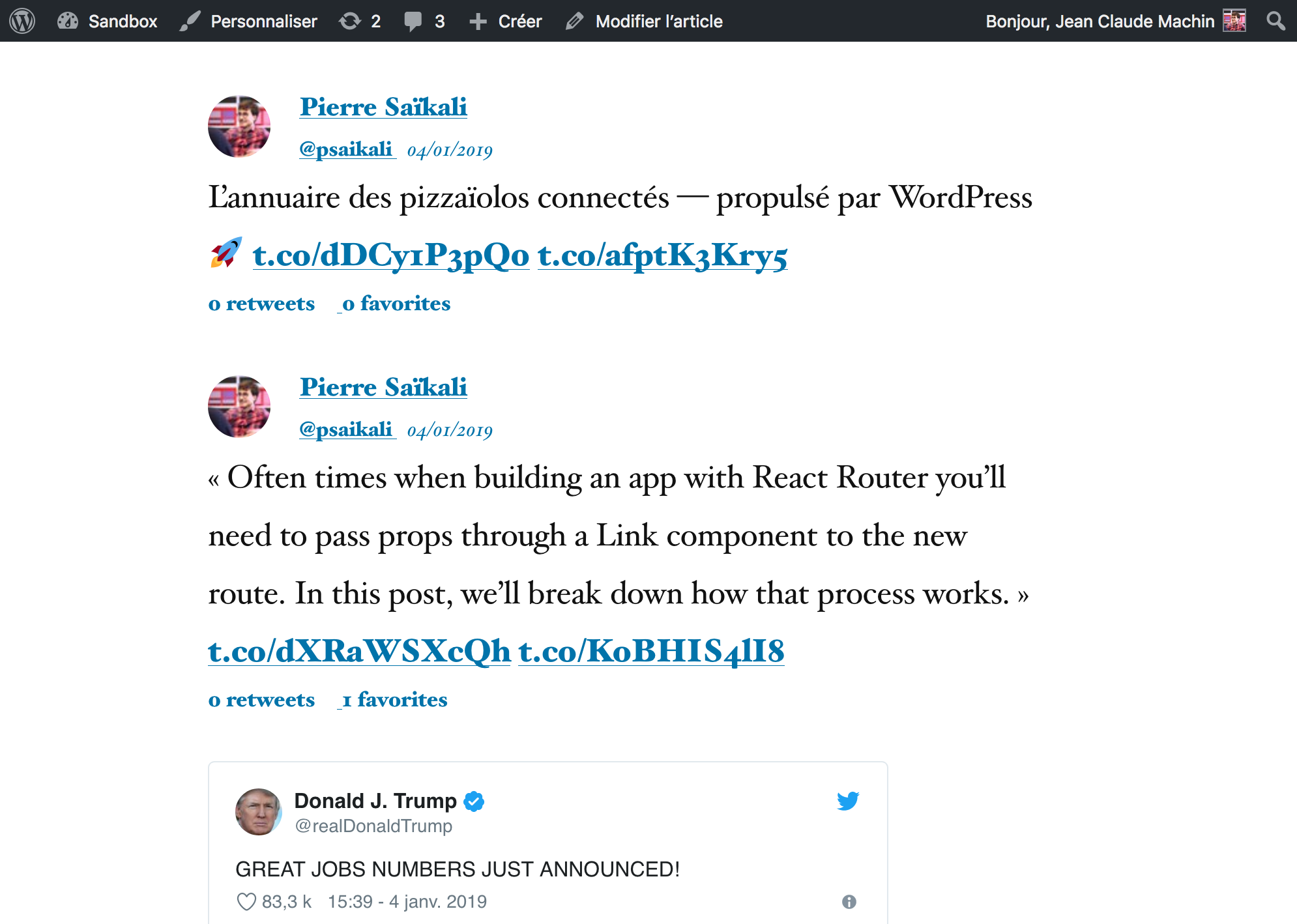 Tweets displayed on the front-end with custom theme or oEmbed display setting.