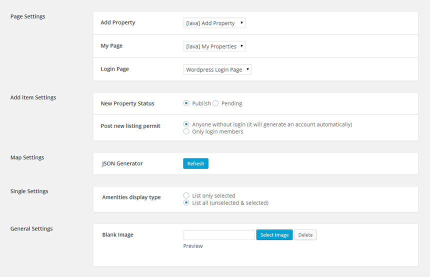 ** Setting page ** - Lava directory manager plugin setting page.