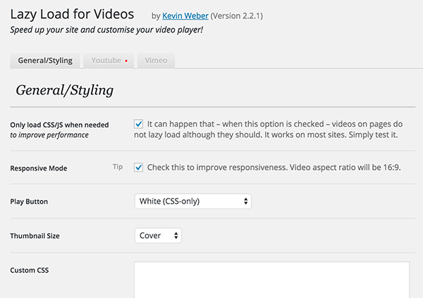 Lazy load for videos wordpress options panel for admins v22 ccuart