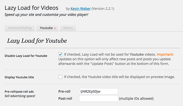 Lazy load for videos wordpress plugins options panel for admins v22 ccuart Images
