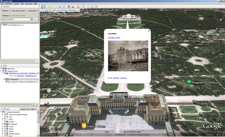 Frontend: layer map in Google Earth (via KML export)