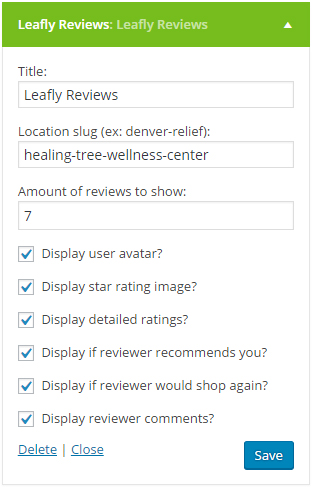 The widget options that you can use to customize the way your reviews display on your website