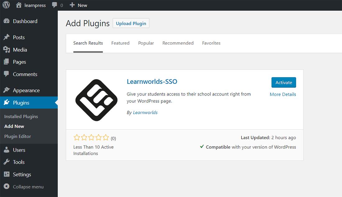 Add LearnWorlds SSO plugin