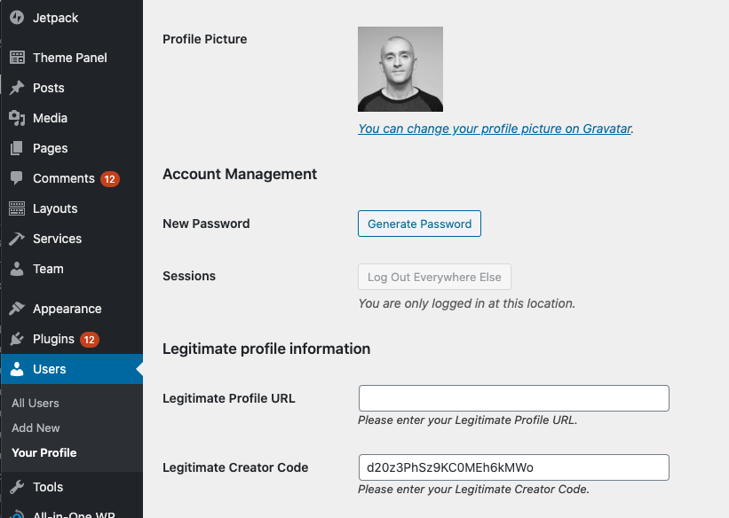This shows where you can insert your creator code on your WordPress user profile.