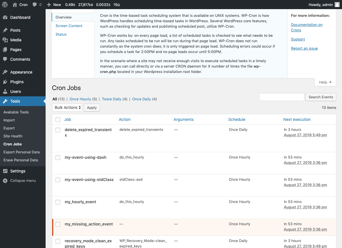 Quick information about Wordpress cron jobs.