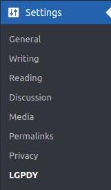 LGPDY plugin settings.