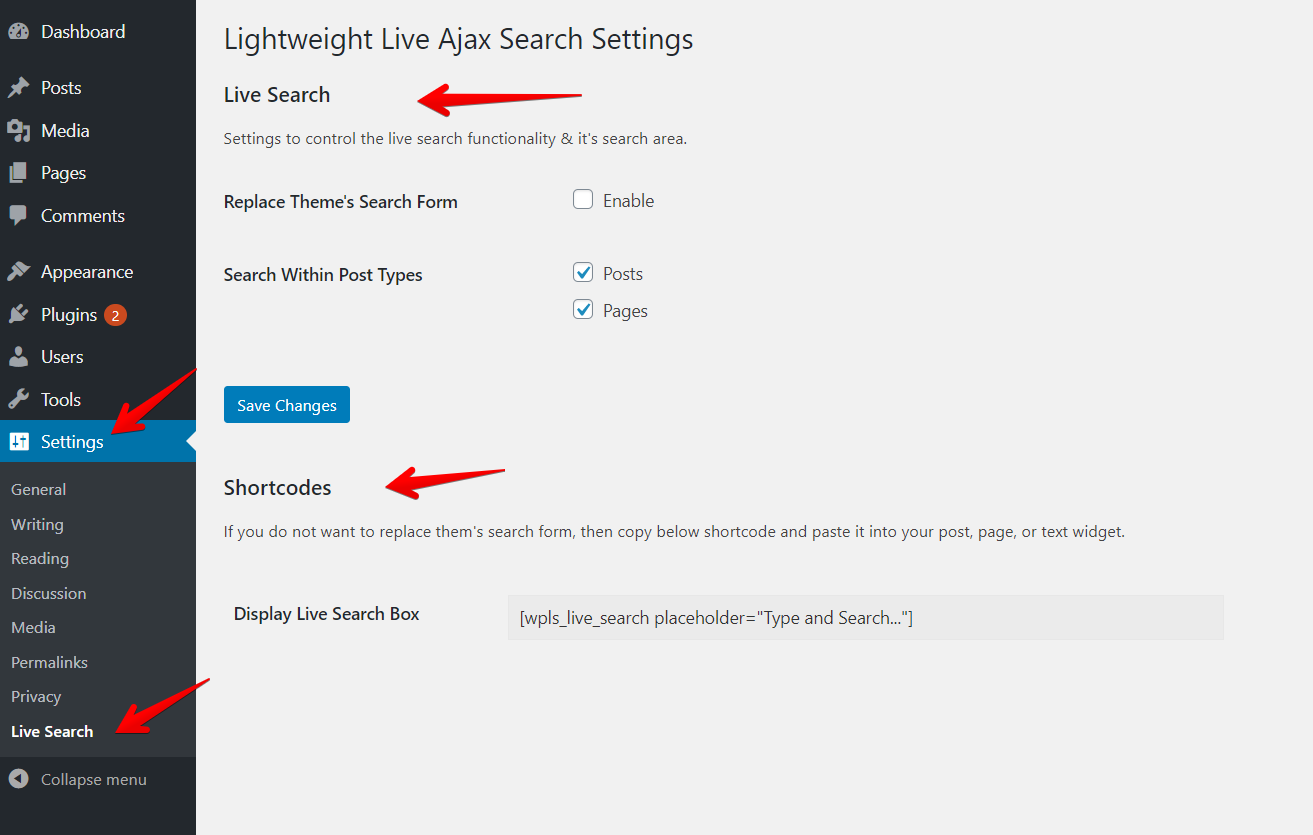 Live search settings - Setings->Live Search.